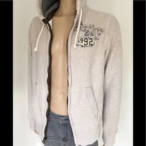 Abercrombie and Fitch Distressed Zip-Up Hoodie